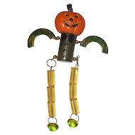 Original Vintage Bakelite, Lucite and Hard Plastic Pumpkin Man Pin Brooch Halloween JOL