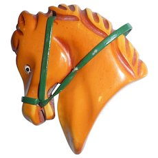 Bakelite Chunky Carved Horse Head Pin Brooch Over Dyed