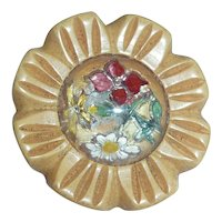 Cream Corn Bakelite Button Reverse Carved Glass Intaglio Flower Garden Bouquet