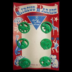 RESERVED FOR MELODY Circus Parade Buttons Mint Original Card Figural Realistic Goofy Le Chic Clown & Animals