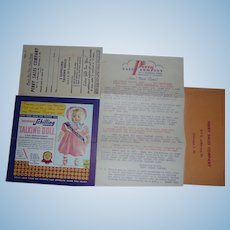 Vintage Ephemera Schilling Talking Doll Sales Punch Card Advertisement Packet Perry Sales Co. Cross Collectible