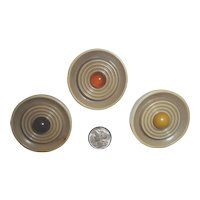 SALE! 3 Celluloid & Bakelite Art Deco Button Bullseye Design with Bakelite Dome Center