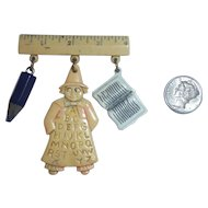 Celluloid Plastic Pin Brooch School Theme Ruler Pencil Book Man