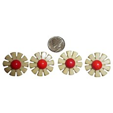 SALE! 4 Beautiful Bakelite & Celluloid Realistic Figural Flower Buttons - Red Tag Sale Item