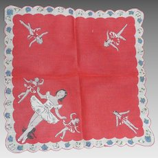 Cute Child's Children's Hanky Handkerchief Ballerina Dancing Rose Border