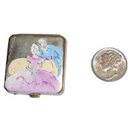 Teeny Tiny Vintage Powder Glove Compact by Divine Hand Painted Silhouettes 1930s