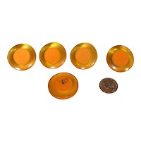 SALE! Chunky Bakelite 2 Color Cookie Buttons (set of 5) Apple Juice Butterscotch
