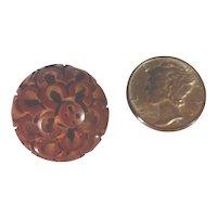 Large Vintage Bakelite Button Deco Heavily Carved Floral Ball
