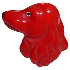 Red Bakelite Carved Puppy Dog Head Pin Brooch