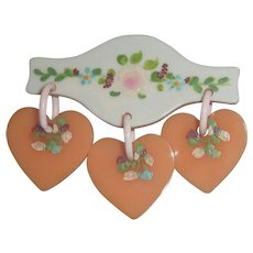 Vintage Bakelite Triple Dangle Painted Flowers on Hearts on Wood Pin Brooch Valentine's Sweetheart