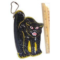 Vintage HalloweenBlack Cat Coin Purse Old Stock Barton's Candy