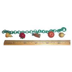 Bakelite Mixed Fruit Realistic Figural Charm Bracelet Celluloid Chain