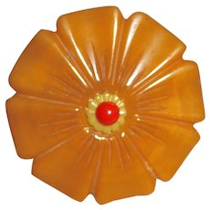 XL 3 Color Bakelite Carved Flower Pin Brooch Butterscotch Swirl, Yellow & Red - Red Tag Sale Item