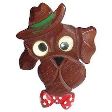 Carved Wooden Googly Eye Dog Polka Dot Tie Bakelite Era Pin Brooch