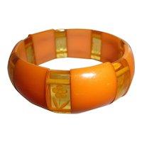 Bakelite Tangerine & Apple Juice Stretch Bracelet Reverse Carved Flower