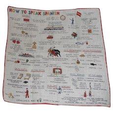 SALE! Fun Picture Hanky Handkerchief * How to Speak Spanish *