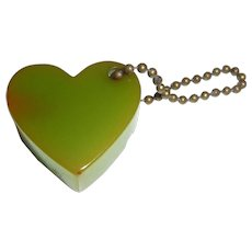 1950s Bakelite Green Heart Pencil Sharpener Key Chain