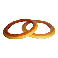 2 (Pair) BAKELITE Flying Saucer Laminated Bracelet Bangles Rings of Butterscotch & Orange w/ Yellow