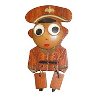 Vintage Carved WWII Wood Wooden Articulated Figural Sweetheart Soldier Pin Brooch Googly Eyes