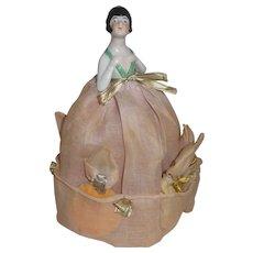 Rare! Rare! Powder Puff Porcelain Art Deco Half Doll with Fabric Skirt & Original Puffs Included