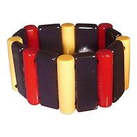 Patriotic Red Cream Blue BAKELITE Stretch Bracelet