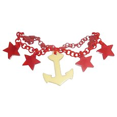 Beautiful Bakelite 4 Prystal Red Star & Creamy Anchor Charm Patriotic Nautical Necklace Celluloid Chain