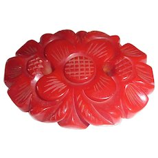 Beautiful Deep Carved Chunky Red Flower Bakelite Pin Brooch