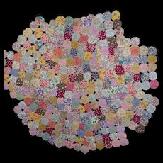 Huge Colorful Lot of 20 Ready Made YoYo Squares Quilt pieces Feedsack + Singles & Circles Unfinished