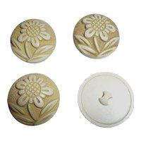 Beautiful Set Bakelite Era Celluloid Buffed Hollow Flower Buttons Set 4