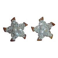 Bakelite Starfish Earrings with Real Shells