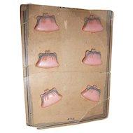 6 Cute Pink Purse Handbag Pocketbook Buttons on Original Card Figural Realistic