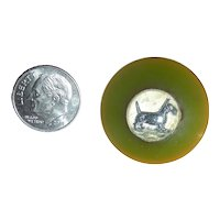 Green Bakelite Button with Intaglio Center of a Scotty Dog
