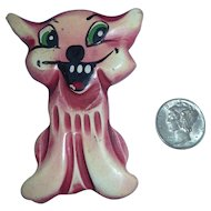 Fabulous Whimsical Bakelite Martha Sleeper Laughing Kitty Cat Pin Brooch