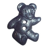 Bakelite Button Figural Realistic Black Teddy Bear