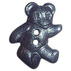 Bakelite Button Figural Realistic Black Teddy Bear