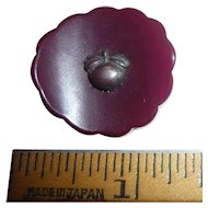 Bakelite Scalloped Floral Curved Button with Metal Apple Escutchion