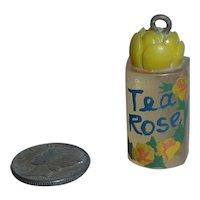 Lucite Mini Perfume Charm Tea Rose Bottle for Bakelite Bracelet or Necklace Pendant Display