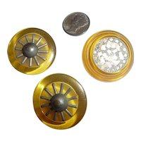 Beautiful Assortment of 3 Bakelite Apple Juice Buttons 2 with Metal Spokes 1 with Crushed MOP