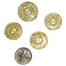 4 Lucite Stardust Glitter Sparkle Buttons Bakelite Era 2 Sizes
