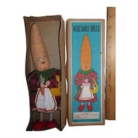 1950s Vintage Anthropomorphic Vegetable Head Doll Lady Carrot Mint in Box