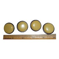 Set of 4 Two Color Hollow Celluloid Buttons Black and Cream Corn Bakelite Style