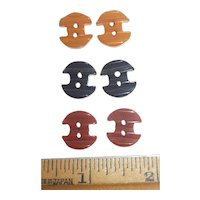 6 Bakelite Buttons Tiny Ripple Anchor Type Shape in 3 Colors