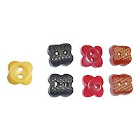 7 Tiny Bakelite Buttons 4 Petal Flowers Realistic Figural 4 Colors & 2 Styles