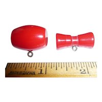 2 Chunky Red Bakelite Buttons 2 Different Ones: a Toggle Bow & a Barrel