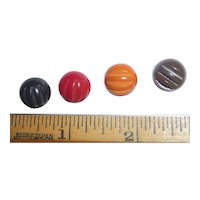4 Cute Bakelite Ball Buttons All Top Deco Carved 4 Colors  Colorful & Fun!
