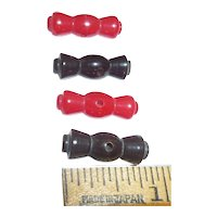 Cute! 4 Bakelite Buttons Geometric Toggle Shape in 2 Colors Black / Red