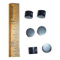 6 Tiny Bakelite Black Cylinder Dot Buttons