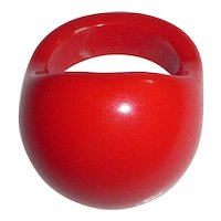 Beautiful Cherry Red Bakelite Bubble Dome Ring Sz 6 3/4