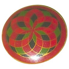 Unusual Large Celluloid Button Colorful Tight Top Geometric Design