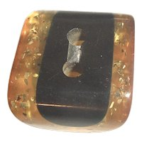 Rare Chunky Rectangle Bakelite 2 Color Laminated Cookie Button Black & Stardust